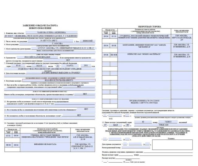 Пример заполнения анкеты на загранпаспорт нового образца в 2020 году - на ребенка, Госуслугах, для пенсионеров, ИП, образец, скачать